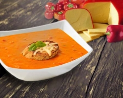 Roasted Red Pepper Bisque with Gouda